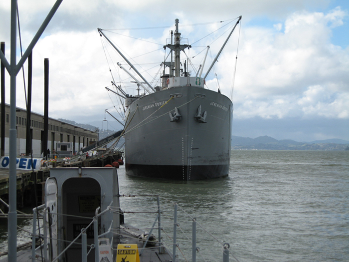 The USS Jeremiah O'Brien docked in the San Francisco Bay