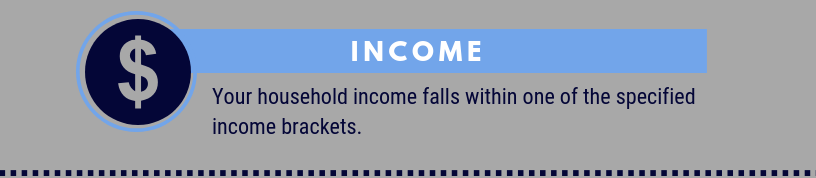 Income: your household income falls within the specified income brackets